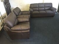 Littlewoods Portland brown leather three piece suite 3 seater sofa and 2 armchairs