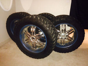 Set of universal OPEN COUNTRY M/T tires w/ BOSS MOTORSPORTS RIMS