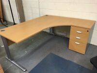 Lovely corner L shaped office desk table with drawers