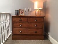 Antique wooden oak set chest of drawers bedroom wood vintage