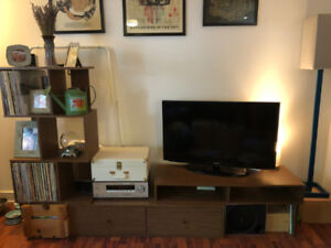 AMAZING wall unit, couch, coffee table and bar stool for sale!