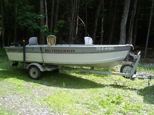 Fishing Boat 14' Aluminum, 15H Mercury, Trailer, Great Condition