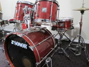 Sonor, 6 pc. Maple Drum Kit. Set. Big Deep Tonal Drums.