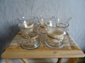 Crochet lace and twine vases, wedding decoration