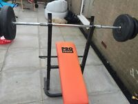Weight Bench with 60kg Barbell