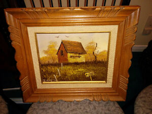 peinture avec cadre en bois 10$