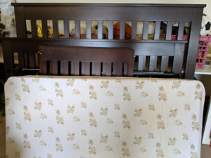 CANADIAN MADE Solid Wood Dark Baby Crib - with orthopaedic mattr