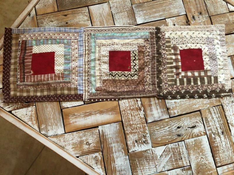 "~Back In Time Textiles~Antique 1870 ""Log Cabin"" cutter quilt piece"