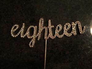"Cake topper ""eighteen"" in gold metal and rhinestones. Stunning!"