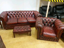 FREE DELIVERY Chesterfield oxblood 3+1+footstool suite
