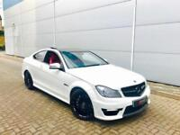 2012 12 Mercedes-Benz C63 AMG 6.3 Coupe WHITE + RED LEATHER + Harmon K + Cam