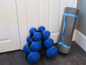 Yoga/Exercise Mat and Weights