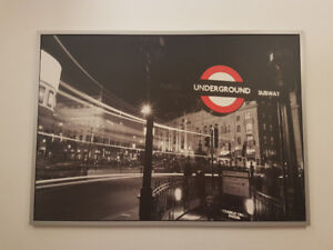 Large London Underground mounted picture & silver frame!
