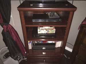 Wooden Tv stand with shelves and a drawer