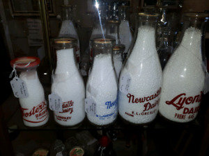 Dairy bottles, collectible bottles and more