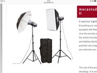Metz studio lighting, backgrounds + stand & Manfrotto Tripod - Photography Kit