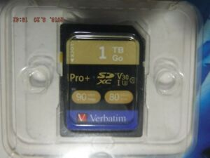 2018 1TB New Verbatim PRO SDHC Card Camera Memory Card 1TB