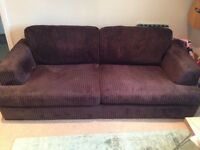 Chocolate brown cord double sofa