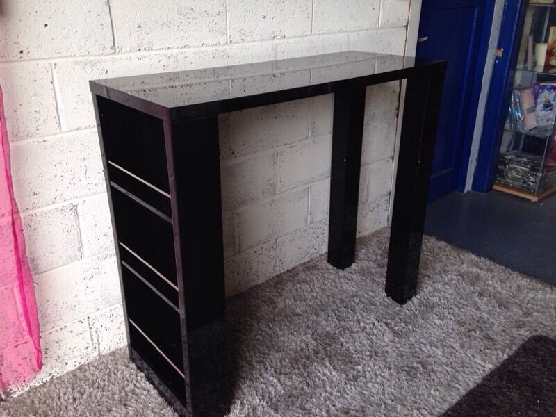 New Echo Bar Table With Storage Shelves In Black High Gloss