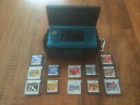 Nintendo 3DS with charger, case and 12 games