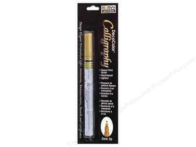 MARVY UCHIDA DECO COLOR CALLIGRAPHY PEN OPAQUE PAINT MARKER GOLD 2mm TIP - Deco Color Markers