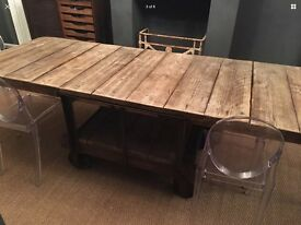 Large French Industrial Cart Table Home Dining Retail Cafe Bistro Restuarant
