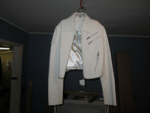 Ladies White Leather biker Jacket