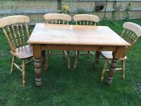 SOLID PINE KITCHEN DINING TABLE AND FOUR CHAIRS