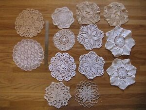 Set of 13 Assorted Doiles - great for vintage wedding decor..
