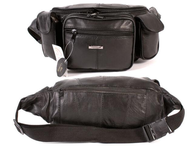 MEN'S REAL SOFT LEATHER MEGA BUM BAG TRAVEL DOCUMENT WAIST MONEY BAG1447 BLACK