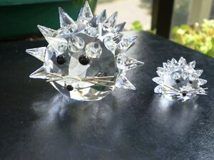 Swarovski Crystal Large and Small Hedge Hogs