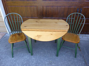 Drop-leaf Table and Two Chairs
