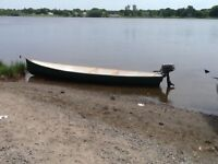 Canoe, outboard and trailer for sale