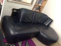 Black Genuine corner sofa like bed