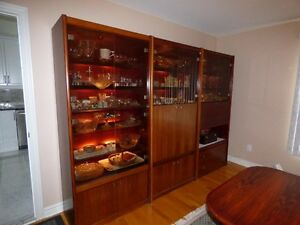 Dining Room Set (Rosewood) (Table, 6 Chairs + 4 wall units)