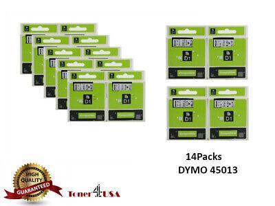 14 Pk 45013 Black White Label Tape Cassette For Dymo D1 Labelmanager 155 160