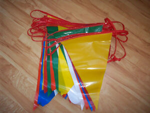 A String of Vinyl Multi Coloured Flags 40 ft. long .Vintage Look
