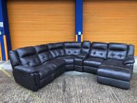 SCS YORKCA Italian leather reclining corner sofa with drinks compartment ex display model