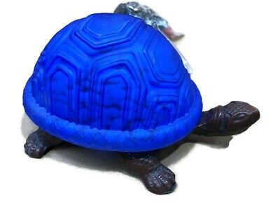 Blue Stained Glass Turtle Night Table Lamp Cast Iron Art Deco Tiffany Tortoise Tortoise Glass Table Lamp
