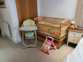 3-in-1 children furniture: baby cot, chicco highchair and baby walker