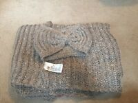 H&M winter Scarf and headband set grey sparkly