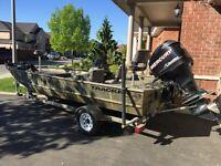 18ft fishing boat with optimax 90hp motor and trailer