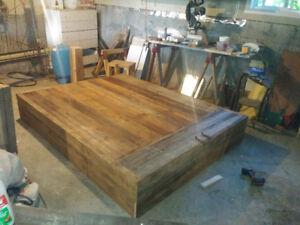 Base de lit vieux bois