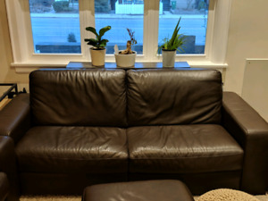 Natuzzi Brown Leather Couches