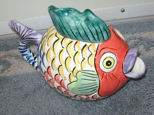 UNIQUE OLD VINTAGE FISHY HAND-PAINTED JOY-JUG with COLOR