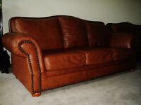 High End Brown Leather Sofa &Loveseat, 99% new, Can deliver