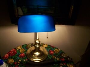 Traditional  Bankers Table Desk Lamp Brass with Blue Glass Shade