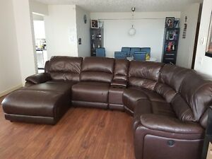 Genuine Leather 5-Piece Sectional -Left-Facing Inclining Chaise