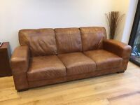 DFS 3 seater soft leather sofa and storage Footstool