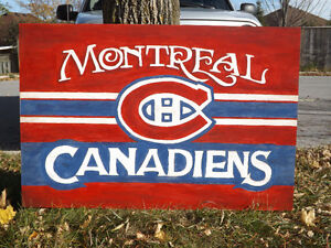 VINTAGE STYLE HANDMADE SPORTS HOCKEY SIGN MONTREAL CANADIENS Peterborough Peterborough Area image 1
